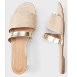 Banana Republic Vegan Suede Double strap slide